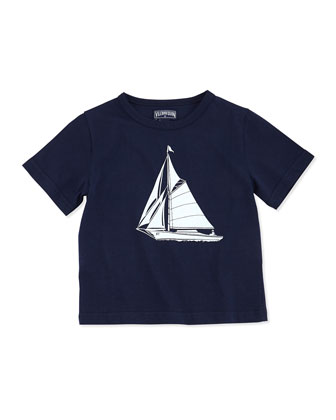 Sailboat-Print Short-Sleeve Tee, Boys' 2-6