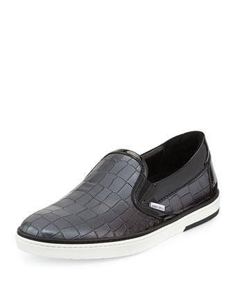 Grove Men's Croc-Embossed Skate Shoe, Gray