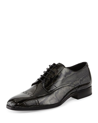 Prescott Men's Metallic Patent Oxford, Black