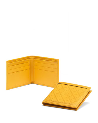 Diamante Leather Bi-Fold Wallet, Yellow