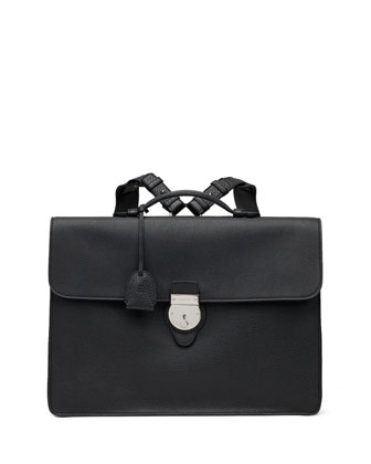 Leather Briefcase Backpack, Black