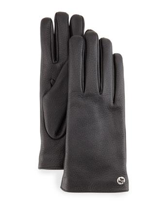 Men's Leather Gloves, Black