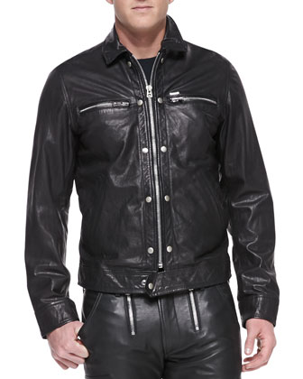 Bunmi Sheepskin Leather Jacket, Wolf-Graphic Jersey Tee & Zippered Leather ...