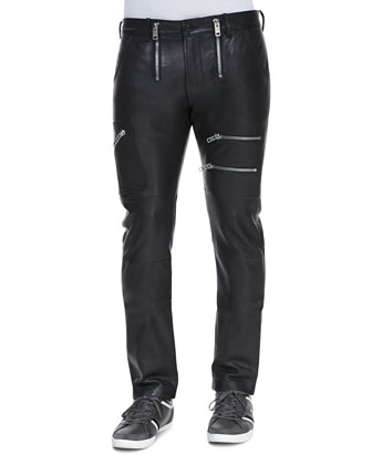Zippered Leather Pants, Black