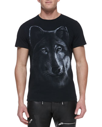 Wolf-Graphic Jersey Tee, Black