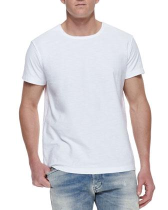 Reverse-Stitching Slub Tee, White