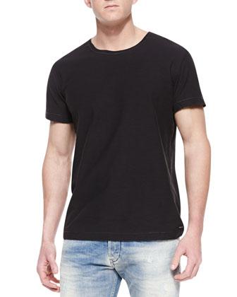 Reverse Stitching Slub Tee, Black
