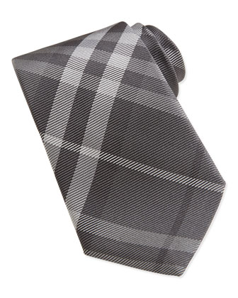 Beat Check Silk-Twill Tie, Gray