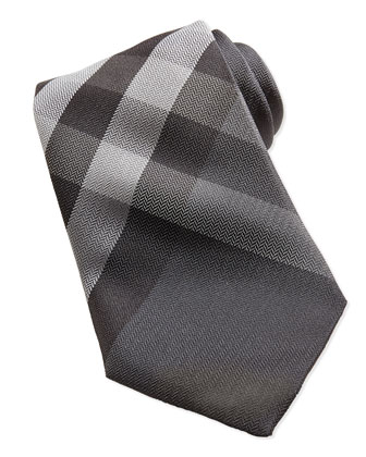 Herringbone Check Silk Tie, Gray