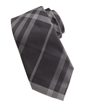 Basic Check Silk Tie, Black/Gray