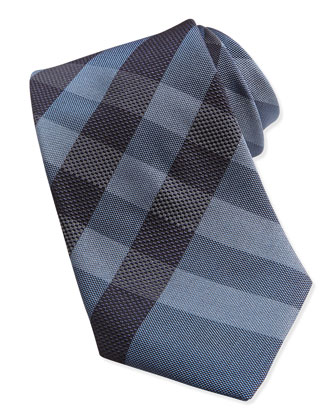 Woven Check Silk Tie, Blue/Black