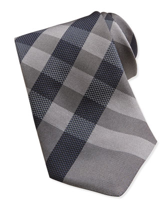 Woven Check Silk Tie, Gray/Black