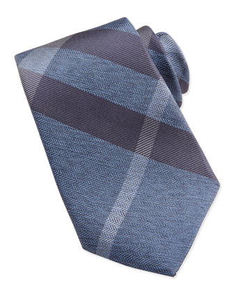 Herringbone Check Silk Tie, Blue