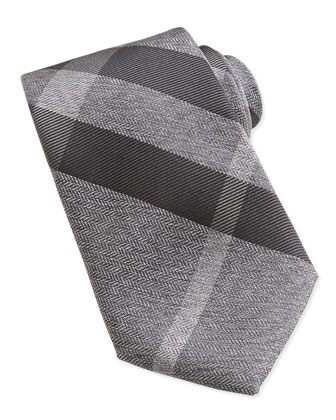 Herringbone Check Silk Tie, Gray/Black