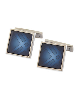 Faded Check Cuff Links, Blue