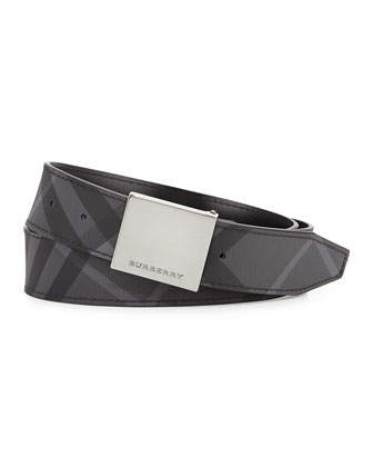 London Reversible Plaque-Buckle Belt, Black