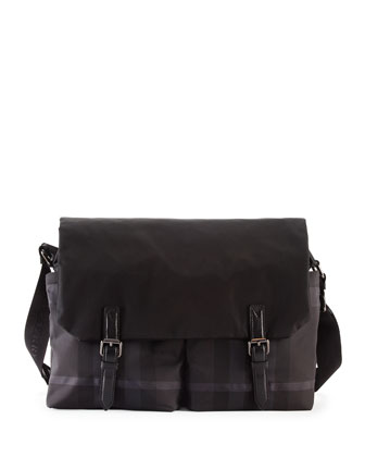 Check Nylon Messenger Bag, Black