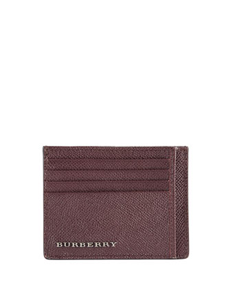 Pebbled Leather Card Case,Wine