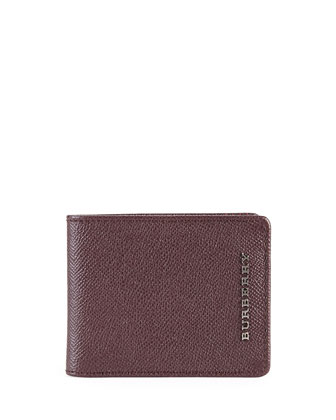 Pebbled Leather Bi-Fold Wallet, Wine