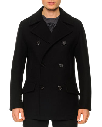 Wool-Blend Double-Breasted Pea Coat, Black