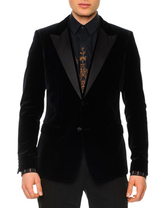 Velvet Evening Jacket with Satin Lapels, Navy