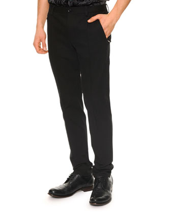 Seam-Detail Skinny Pants, Black