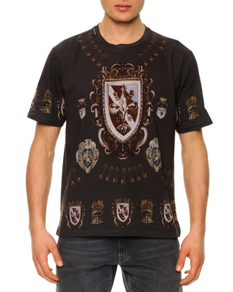 Shield-Print Jersey Tee, Dark Gray