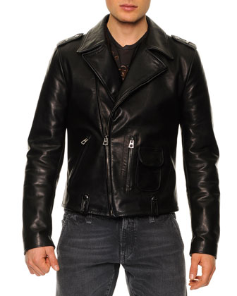 Leather-Blend Asymmetric-Zip Biker Jacket