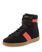 Suede High-Top Sneaker, Black/Red