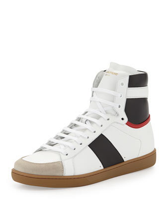 Yves Saint Laurent Tricolor Leather High-Top Sneaker