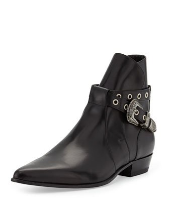 Duckies Belt-Detail Leather Boot, Black