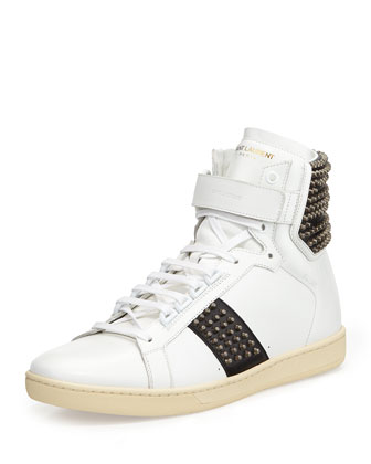 Yves Saint Laurent Studded Leather High-Top Sneaker, White/Black