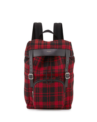 Hunting Tartan Plaid Backpack, Red
