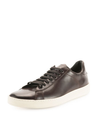 Russel Calf Leather Low-Top Sneaker, Chocolate