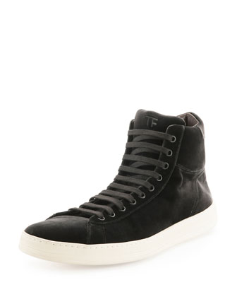 Russel Velvet High-Top Sneaker, Gray