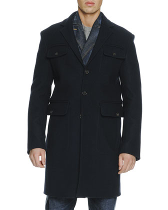 Wool Navy Single-Breasted 4 Pocket Coat