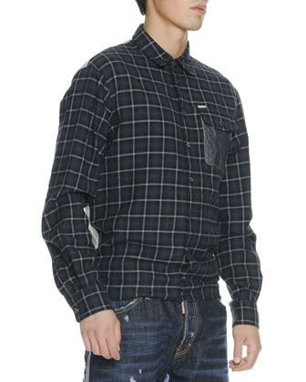Plaid Flannel Long-Sleeve Shirt & Two-Tone Workwear Jeans