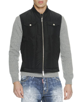 Quilted Down Vest, Knit D Squared Cell Block-Phrase Sweater & Beach Front ...