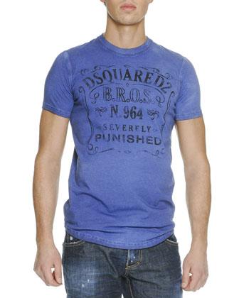 DSquared2 B.R.O.S. Slogan Crewneck Tee & Med Indigo Slim-Leg Denim Jeans