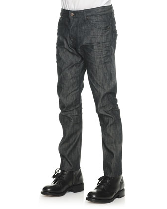 Black Wash Slim-Leg Denim Jeans