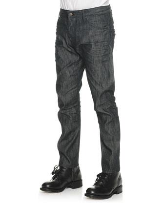 Contrast-Collar Long-Sleeve Shirt & Black Wash Slim-Leg Denim Jeans