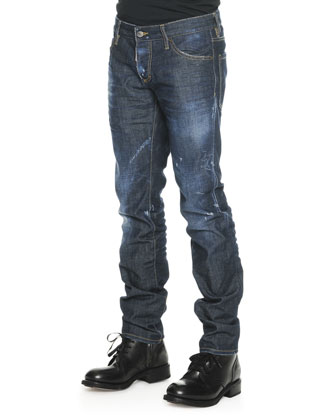 Dsquared2 Original DSquared2 Jailed Tee & Med Indigo Slim-Leg Denim Jeans