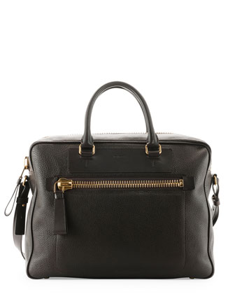 Buckley Side-Zip Briefcase, Dark Brown