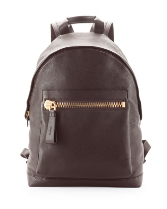 Zip-Pocket Pebbled Backpack, Dark Brown