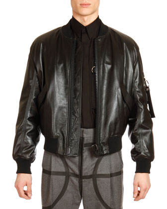 Leather Bomber Jacket, Zip-Pocket Long-Sleeve Shirt & Wide-Leg Trousers ...