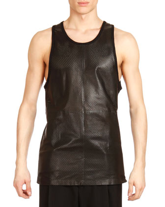 Leather Mesh Tank, Black