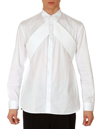 Poplin Shirt with Pique Banner, White