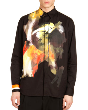 Abstract-Print Dress Shirt, Black Multi