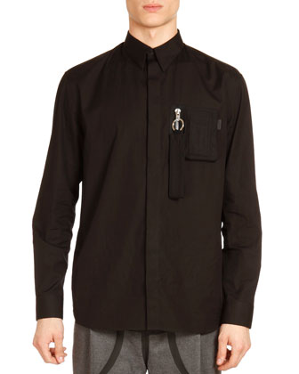 Zip-Pocket Long-Sleeve Shirt, Black