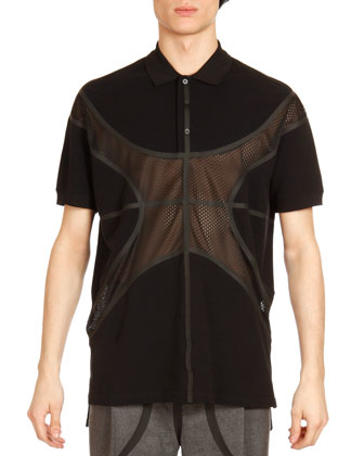 Mesh-Basketball Polo, Black